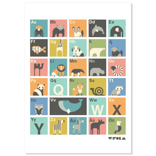 ABC Svensk Multicolor 50x70cm